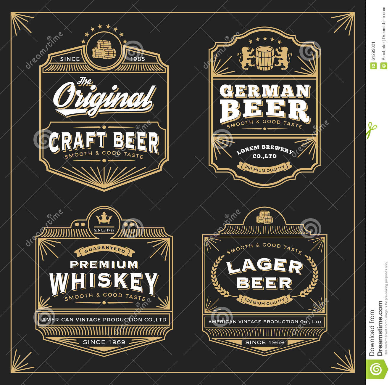 Vintage Badge Logo Label Design For Premium Product Stock Vector ...