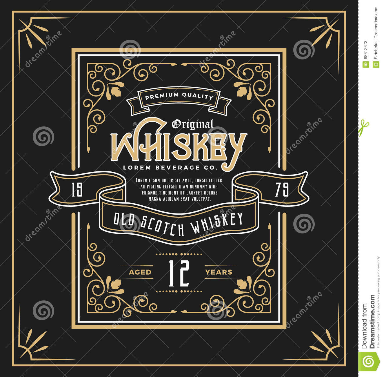 Vintage frame label for whiskey and beverage product stock Wine shop decoration
