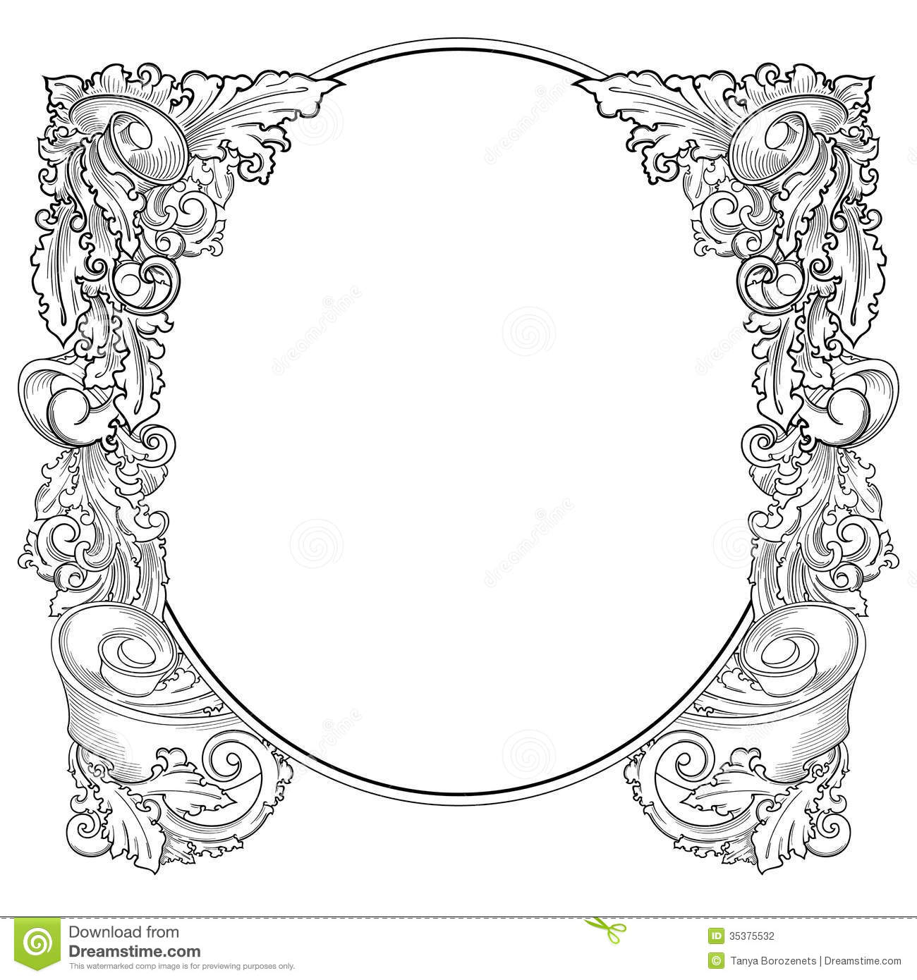 vintage frame old style vector drawing