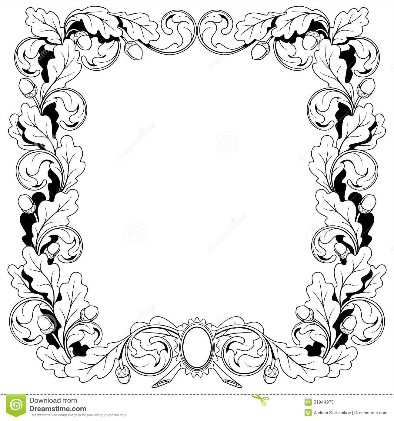 vintage frame ornament from oak branches with stock vector illustration of tree ornament 51944975 dreamstime com