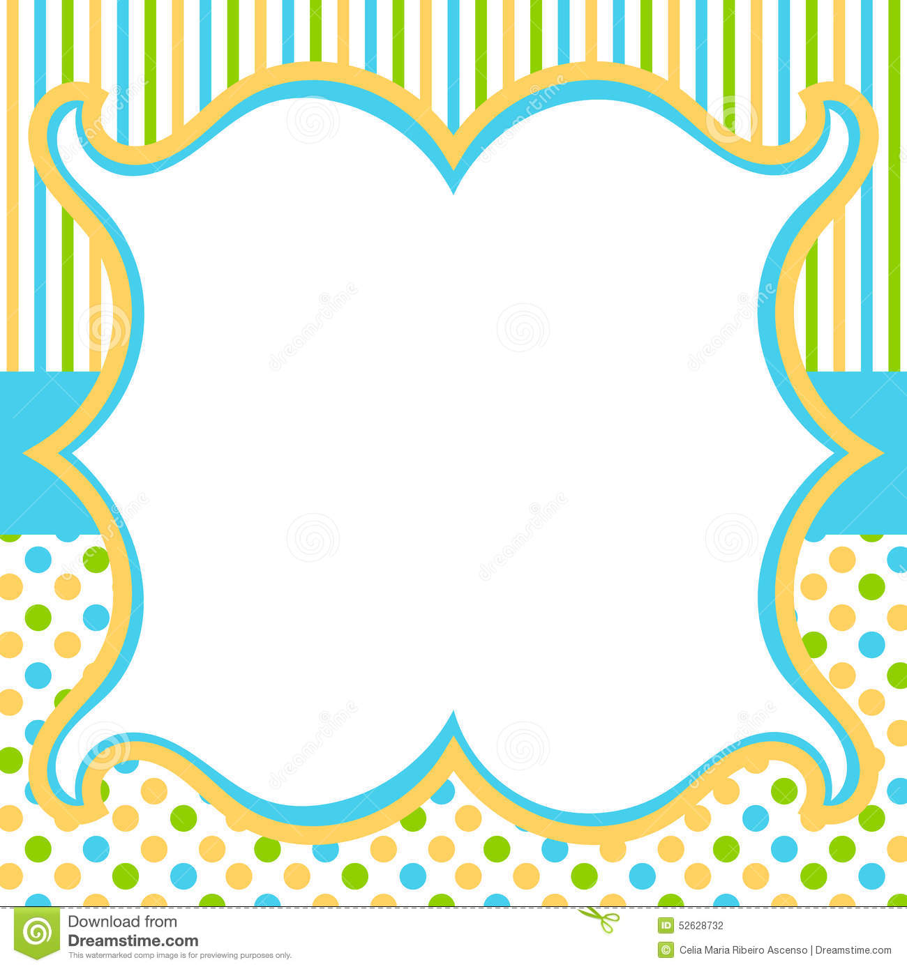 Vintage frame with polka dots and stripes background