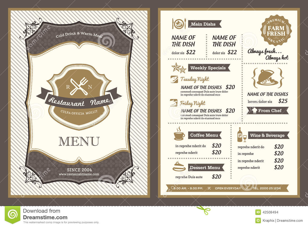 Vintage Frame Restaurant Menu Design Stock Vector   Image  42508494