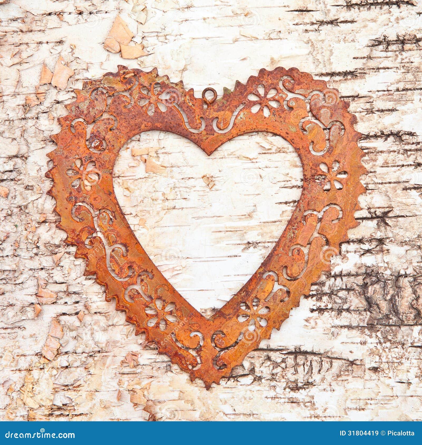 Vintage Frame On Rustic Wooden Background Heart Floral