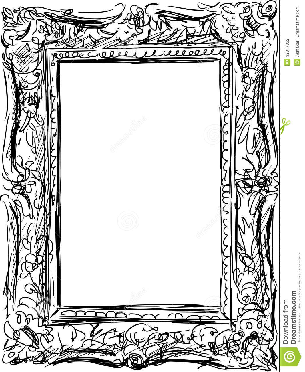 vector drawing of ancient frame in a baroque style