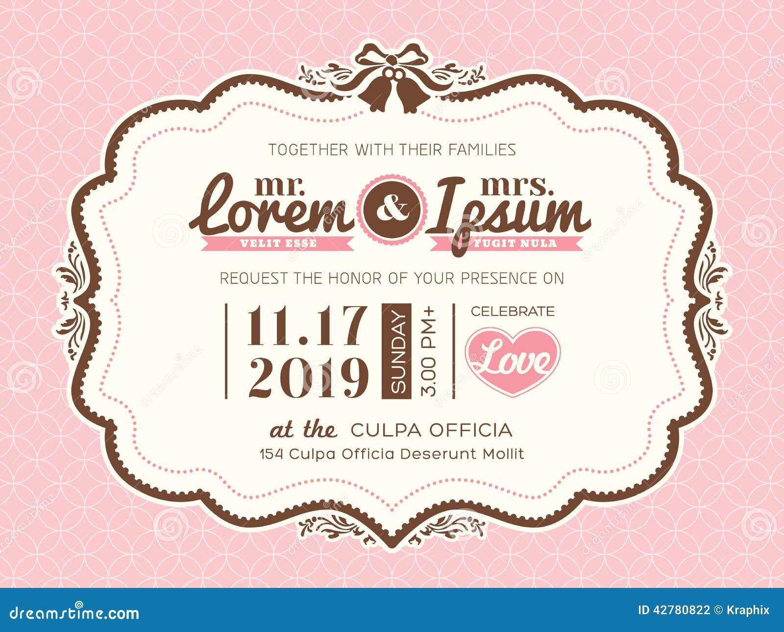 ... Frame Wedding Invitation Card Template Stock Vector - Image: 42780822