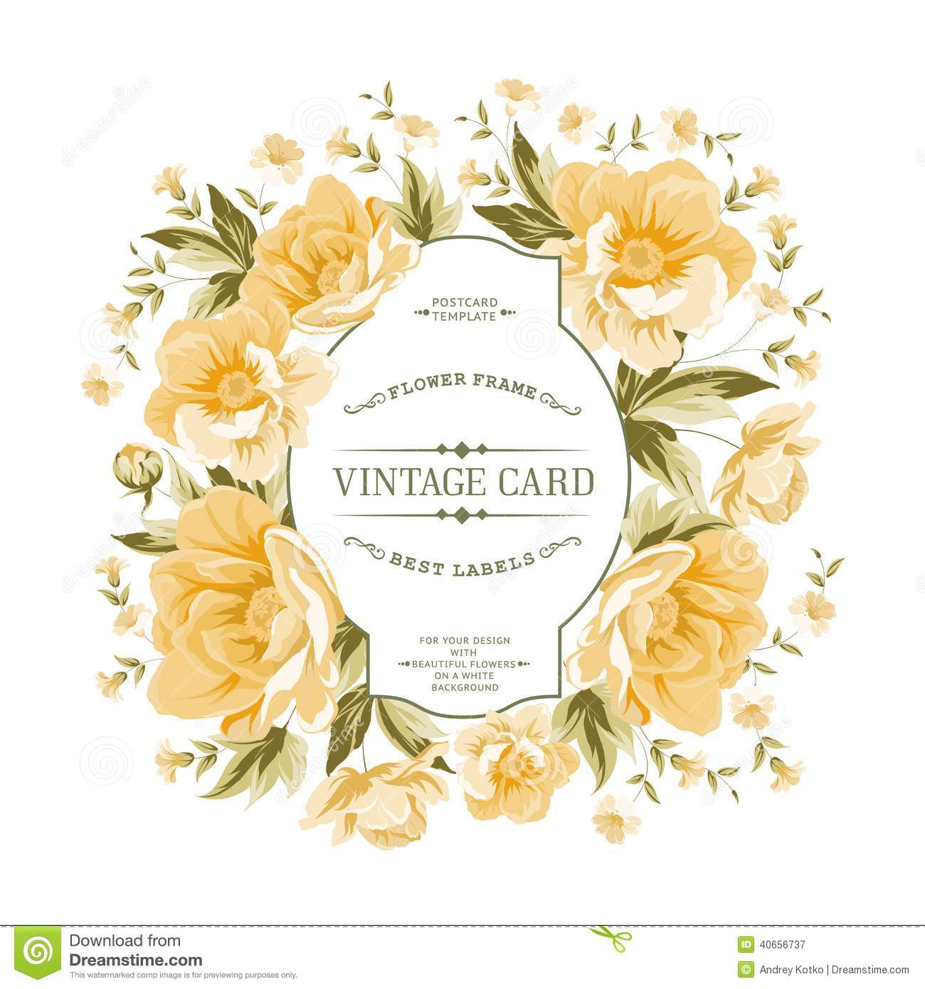 Vintage Frame Of Yellow Flowers On A White Background ...
