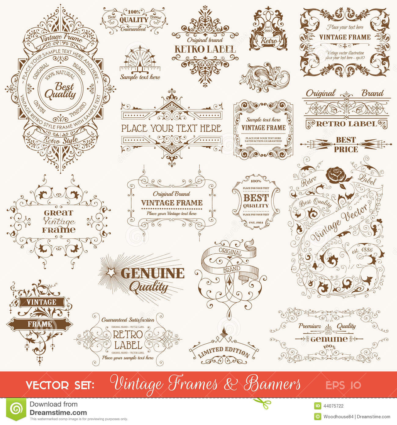 Vintage Frames and Banners, Calligraphic Elements