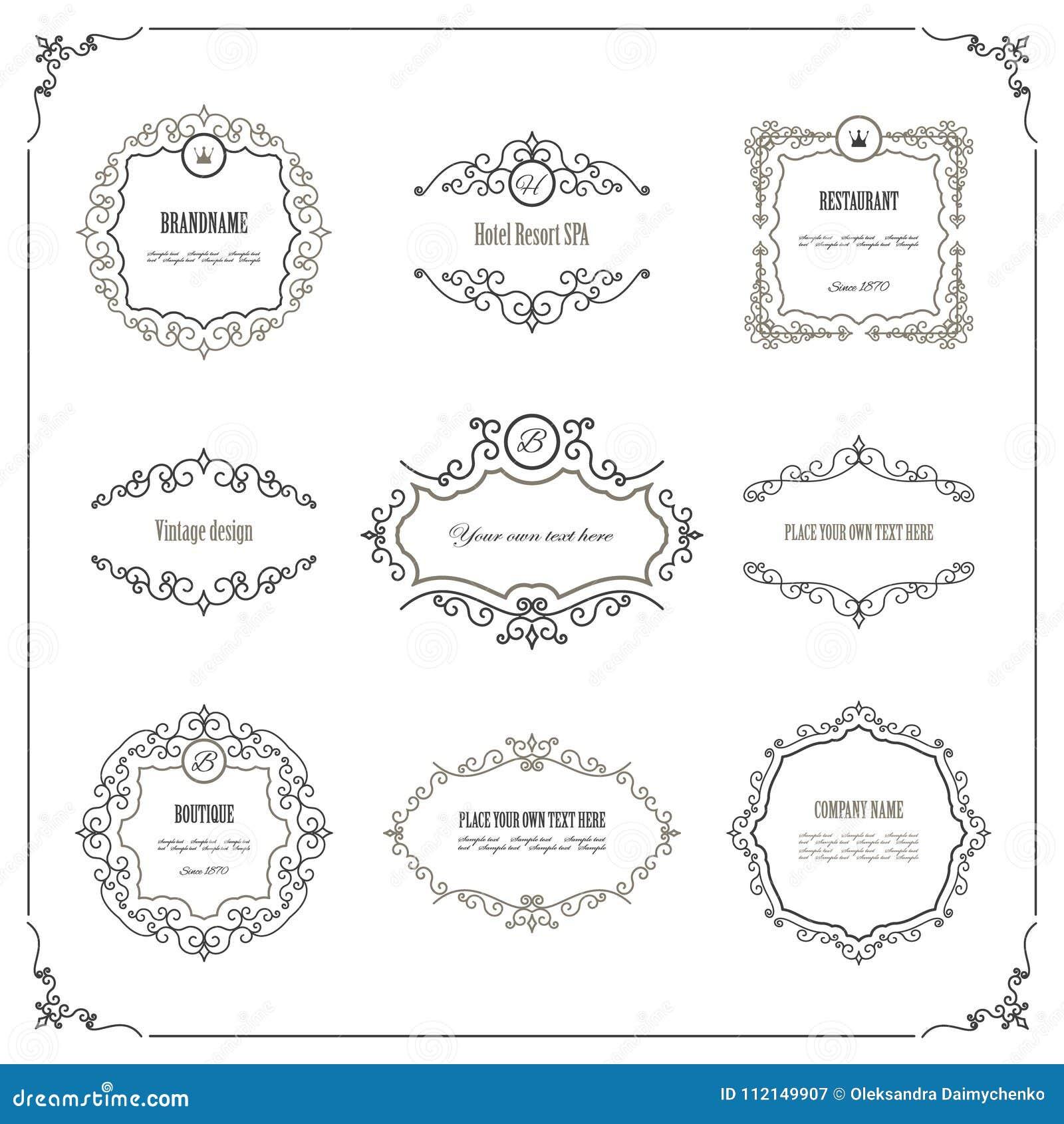 Vintage Frames And Labels Set. Stock Illustration - Illustration of ...