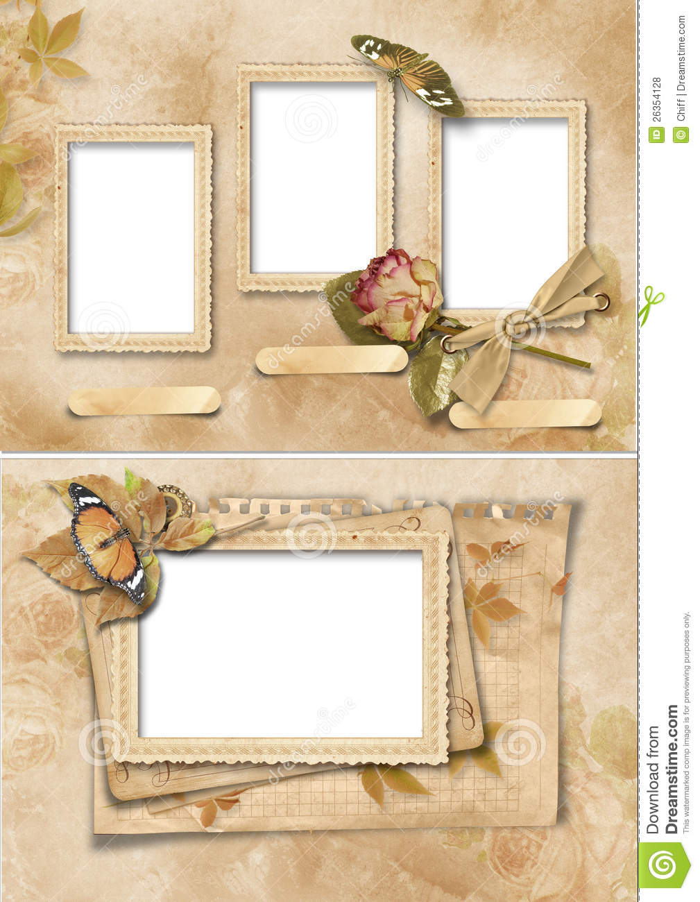 Vintage frames set family album stock illustration for How to make vintage frames