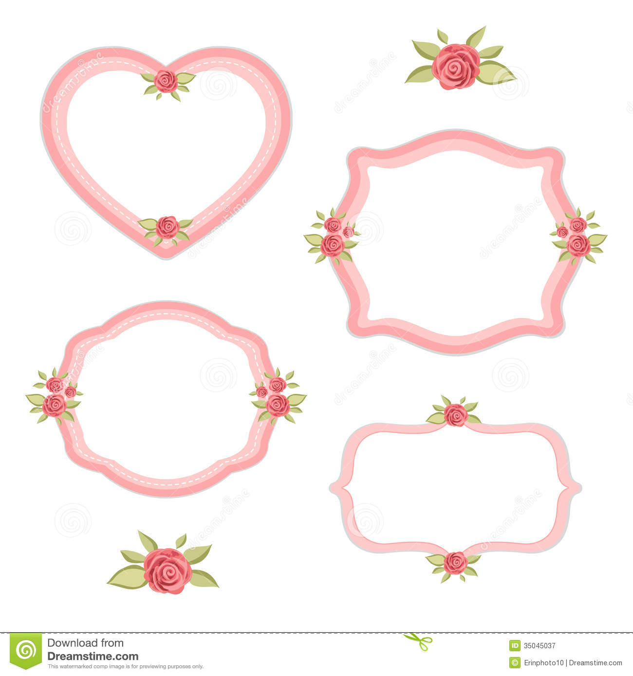Set of vintage floral heart frames with roses in shabby chic style ...