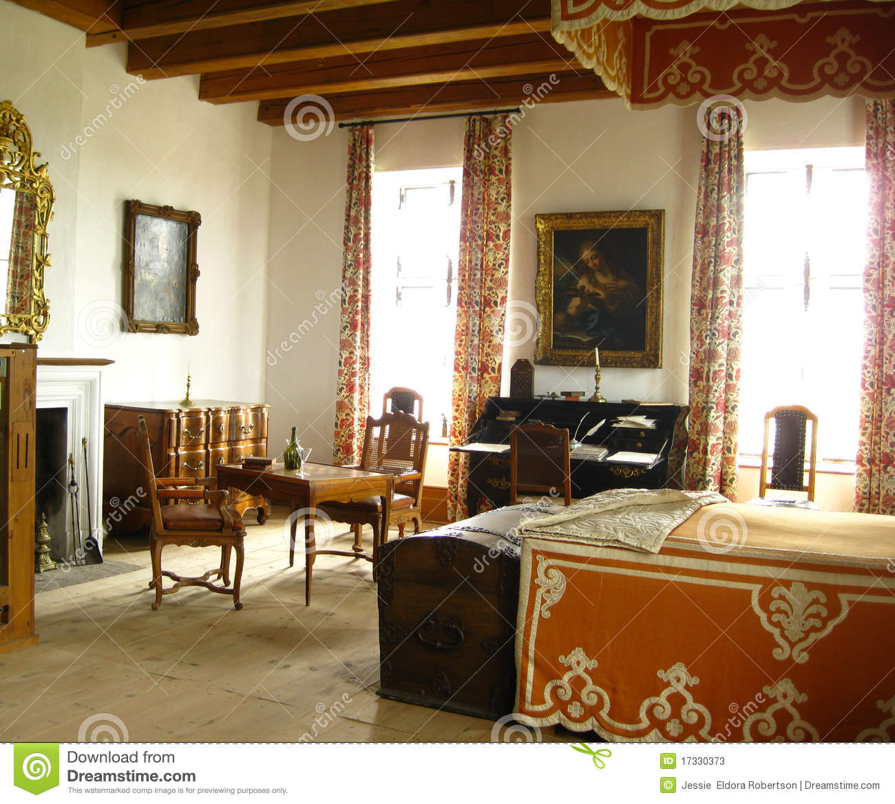 Vintage french bedroom stock image image of interiors for Classic french bedroom
