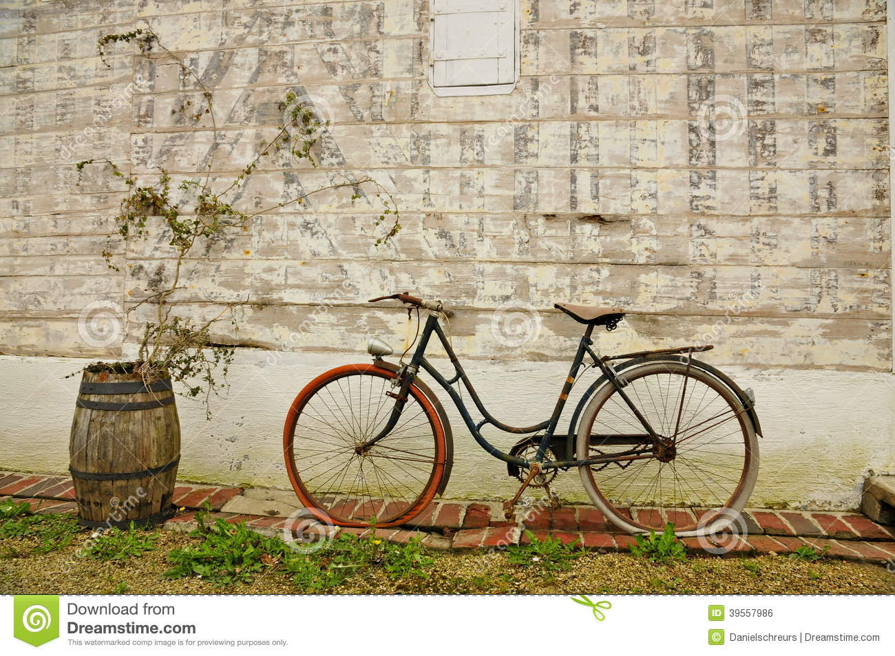 Vintage french bicycle and wine barrel stock photo image for Retro images