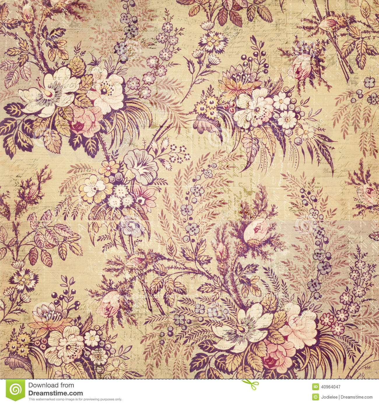 Vintage French Floral Shabby Chic Wallaper Stock Image Image Of