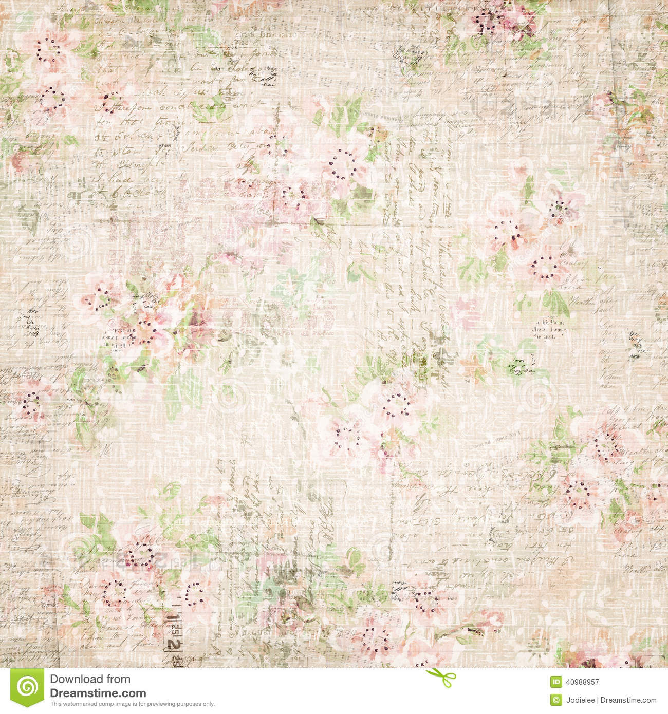 Vintage french floral shabby floral chic wallaper stock for Old french wallpaper