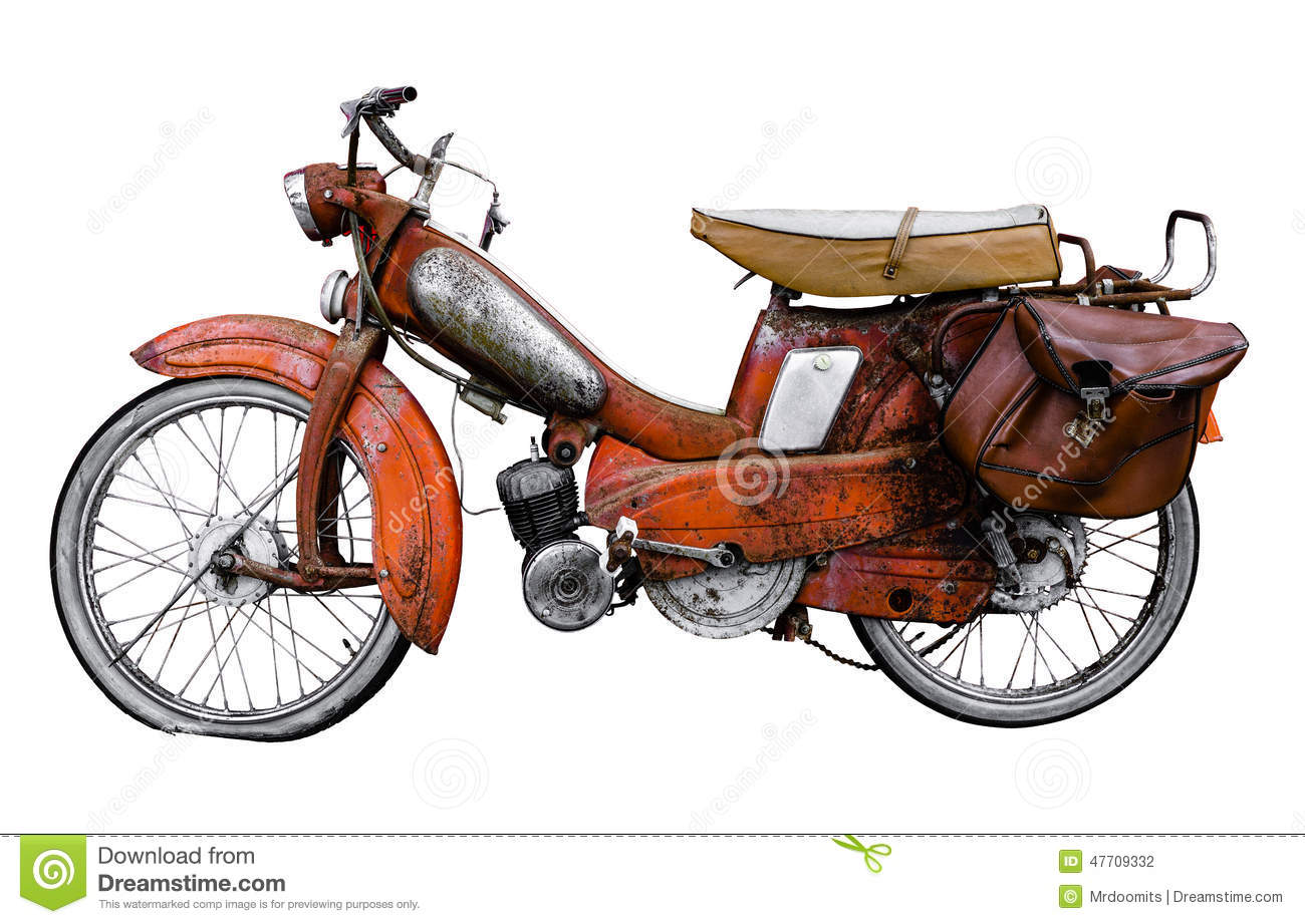 Isolated Vintage 60s French Moped Or Scooter With Pannier Bag And Flat ...
