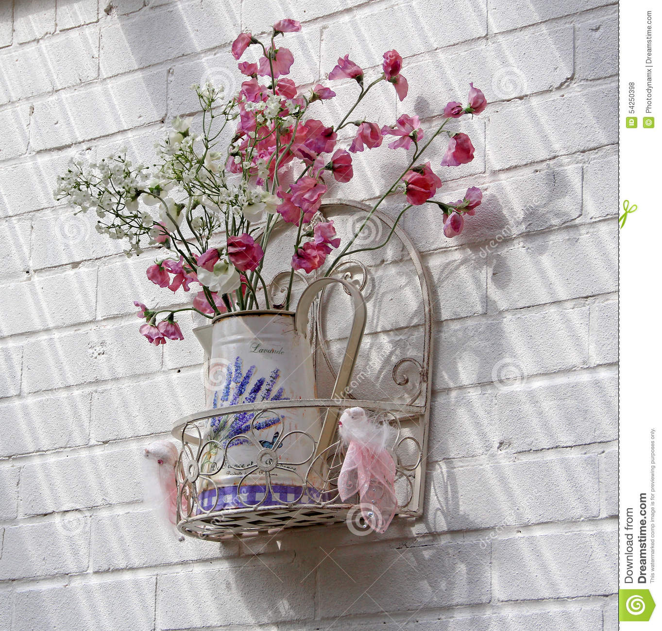 Vintage French Shabby Chic Flower Vase Stock Photo Image