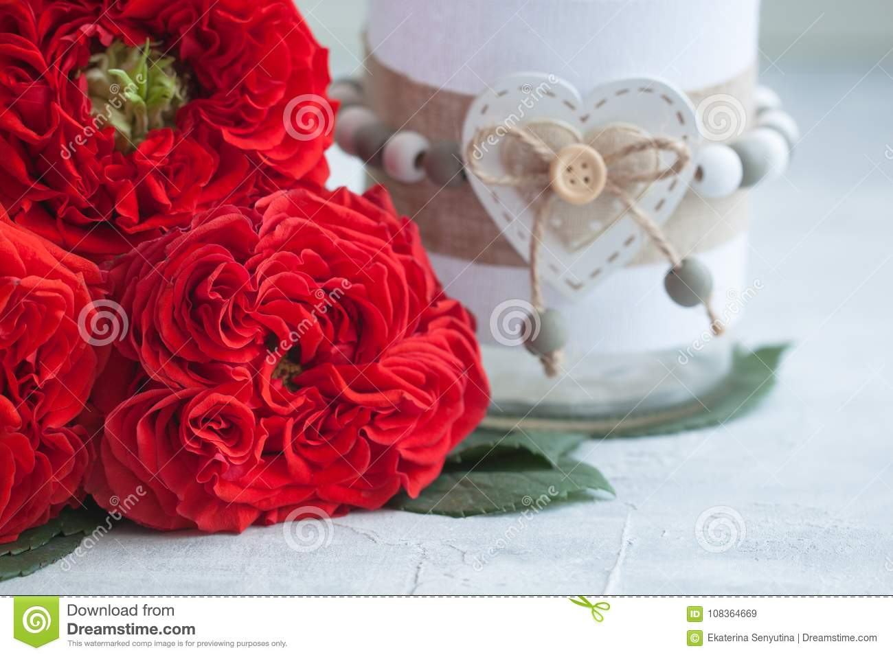 Vintage Fresh Red Garden Roses With A Vase. Valentine`s Or Wedding`s ...