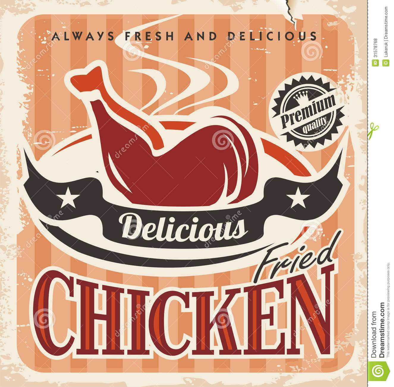 Poster design 50s - Vintage Fried Chicken Poster Design Royalty Free Stock Photos