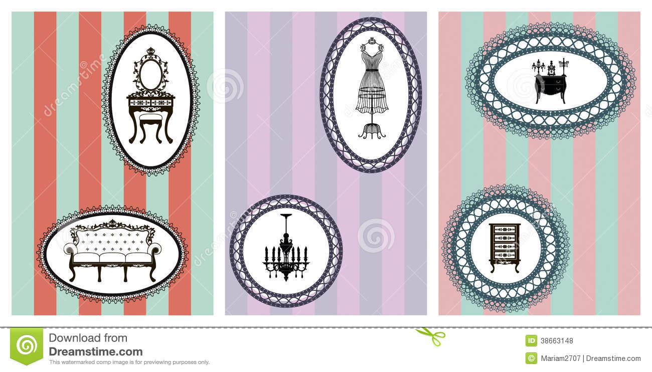 Antique chair silhouette - Vintage Furniture Cards Royalty Free Stock Photos