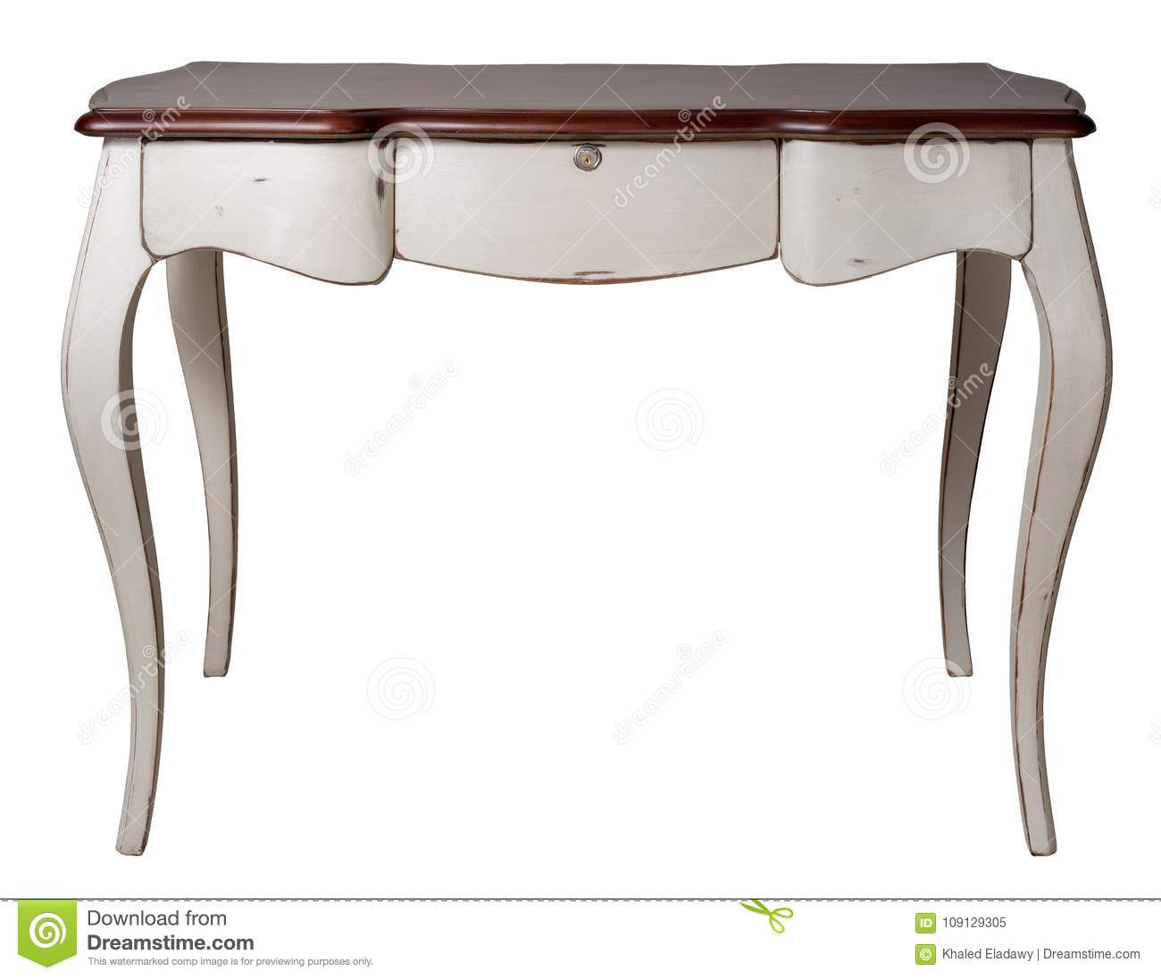 Retro wooden desk table with white legs and three drawers isolated on white background including clipping path