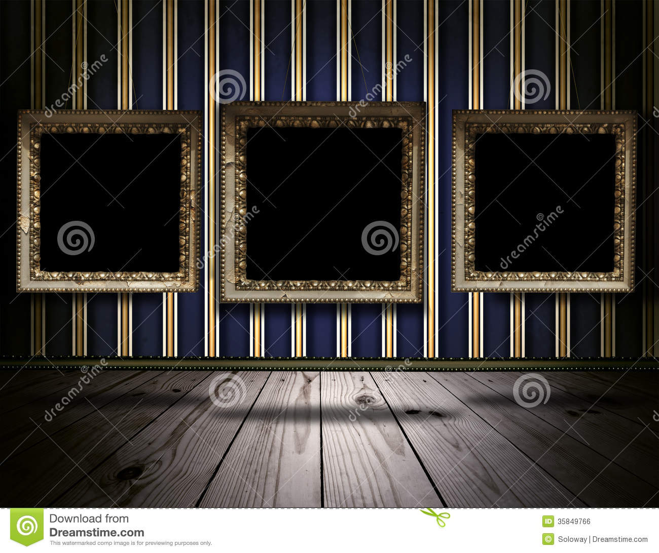 Vintage Gallery Background With Old Victorian Frames Stock
