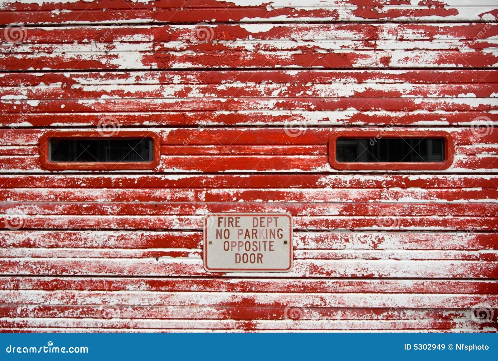 Vintage Garage Door With Peeling Red Paint Stock Image Image Of