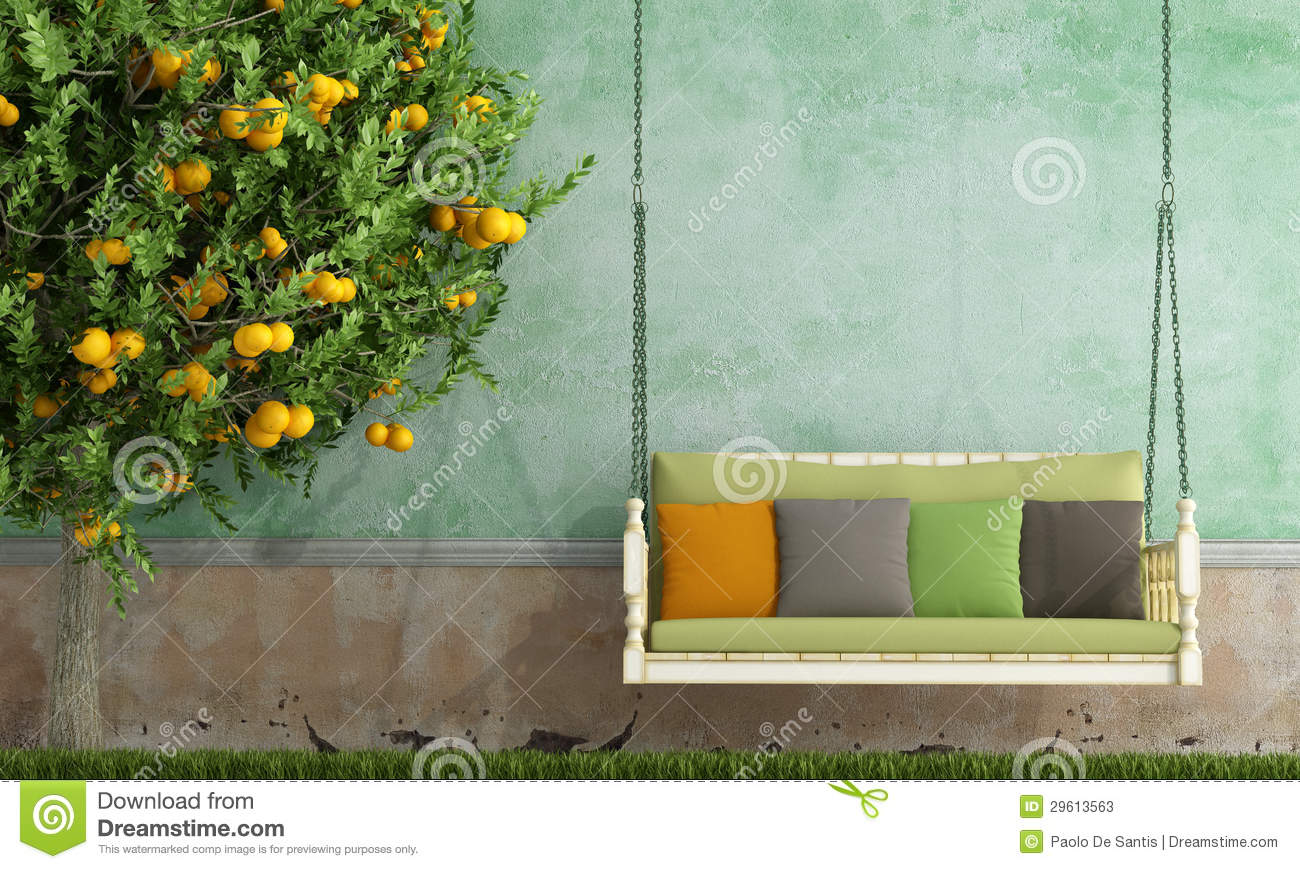 ec3059a56e Vintage garden swing stock illustration. Illustration of wall - 29613563