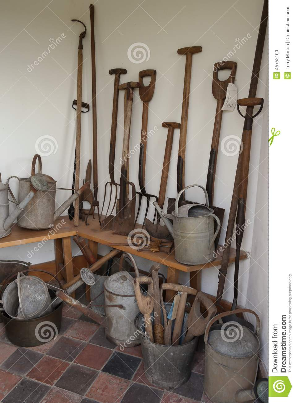 Vintage Garden Tools In White Brick Shed Stock Photo Image 45753100