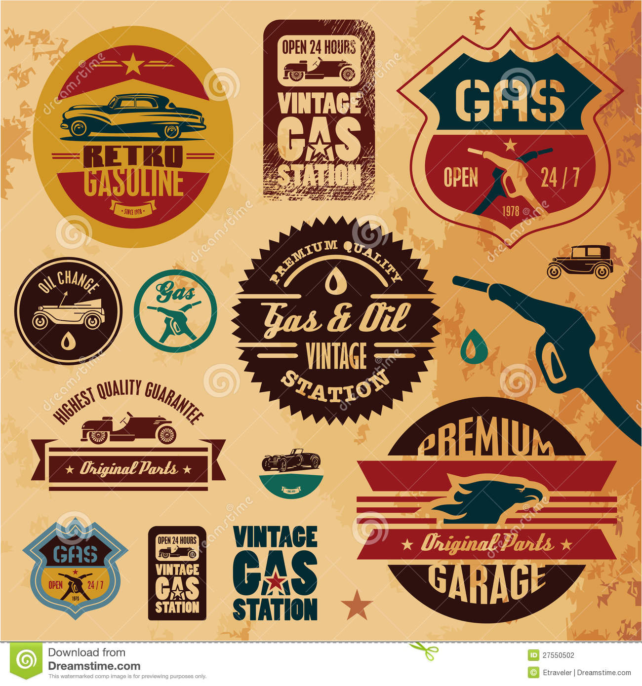 Vintage gasoline labels