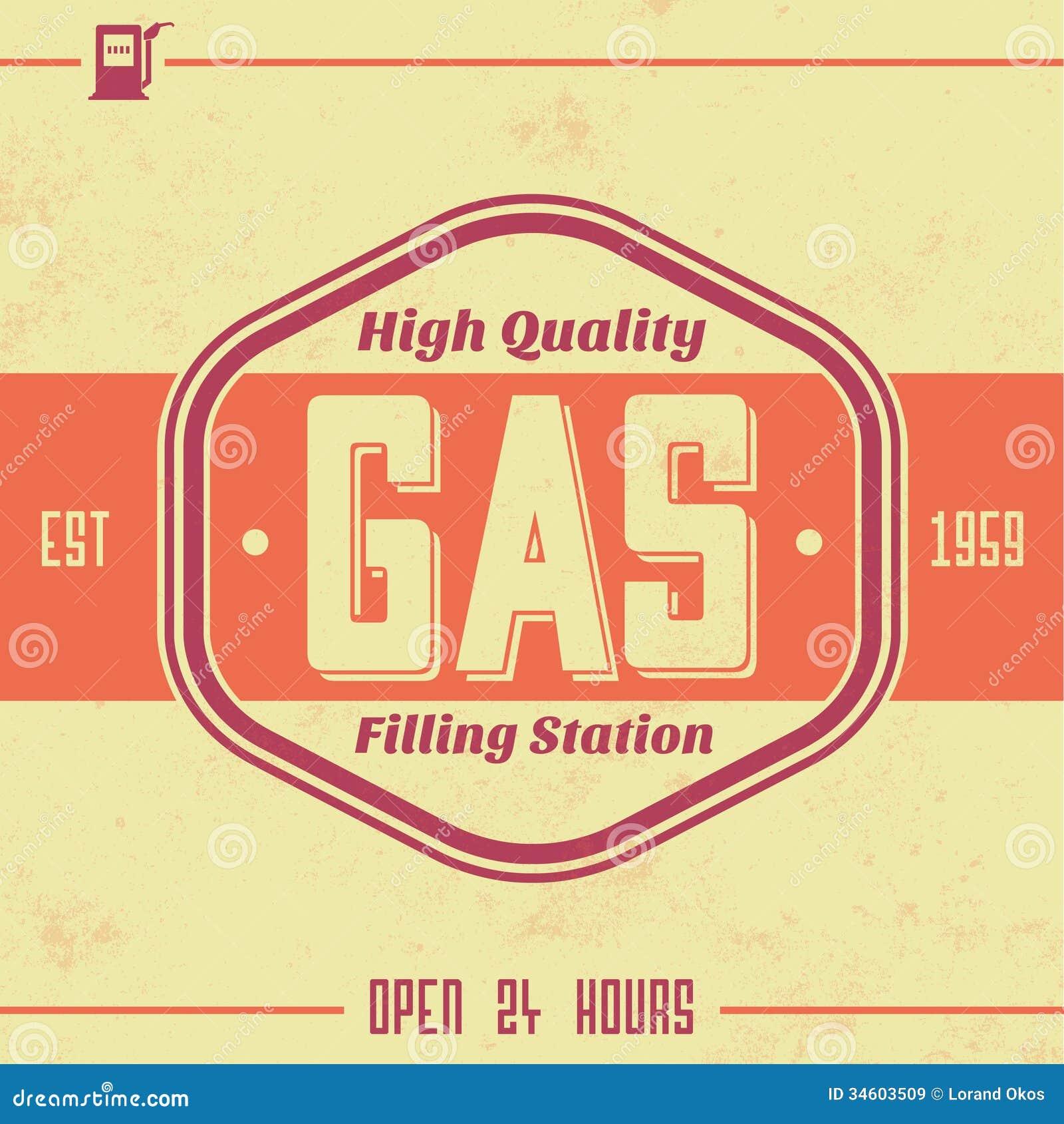 vintage gasoline sign retro template stock vector illustration