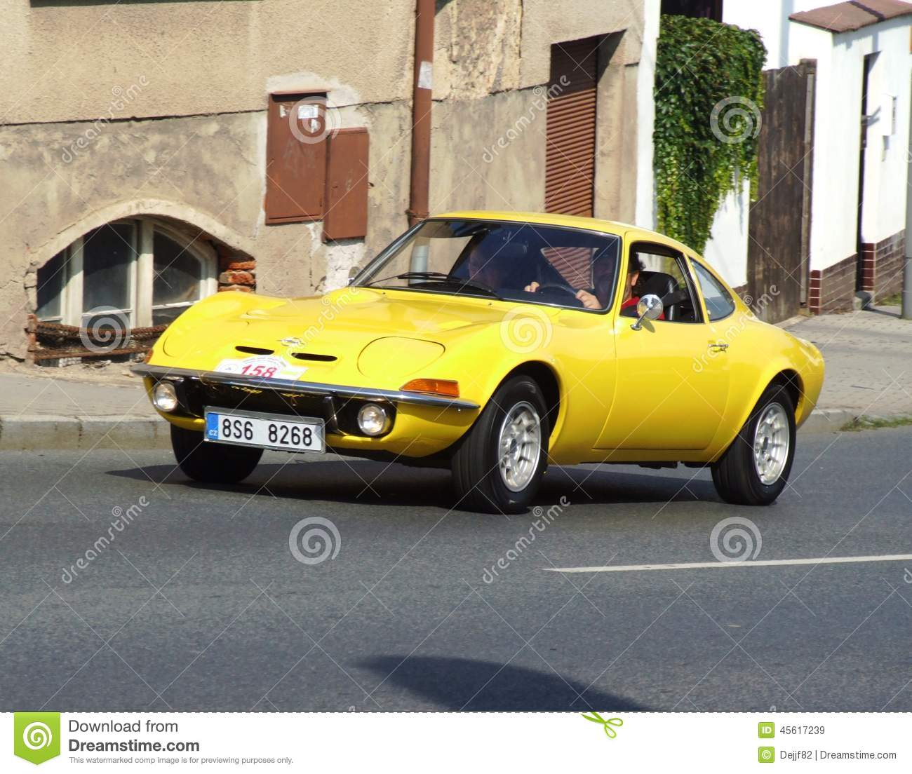 Opel GT  Vintage German sport car on the way during veteran race in
