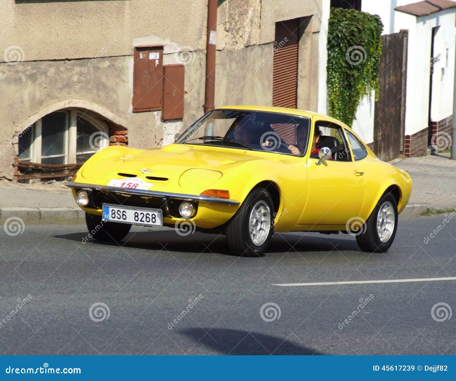 Opel GT  Vintage German sport car on the way during veteran race in