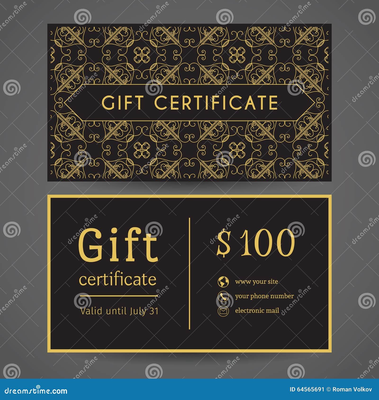 vintage gift certificate stock vector image 64565691
