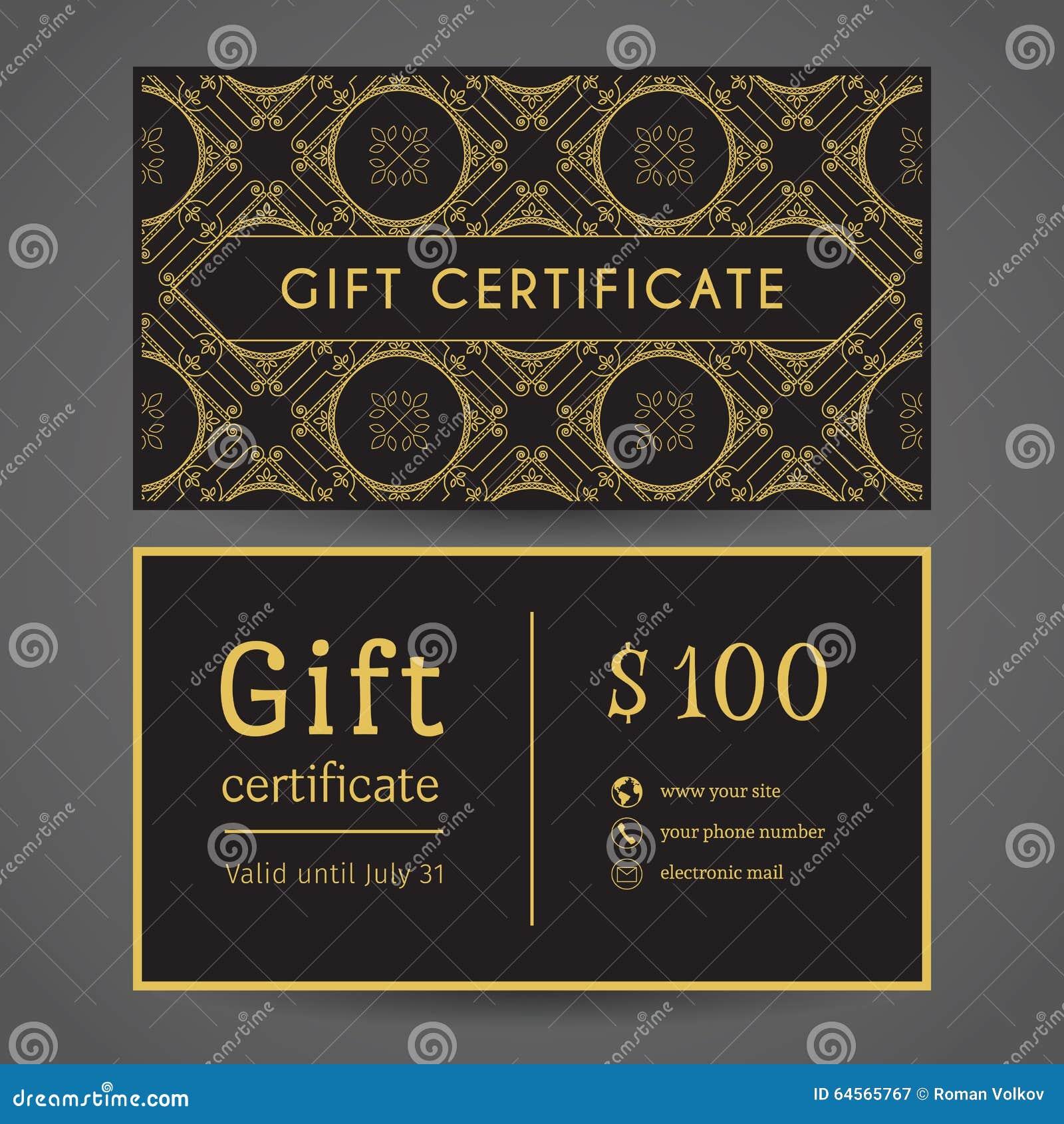 vintage gift certificate stock vector image 64565767