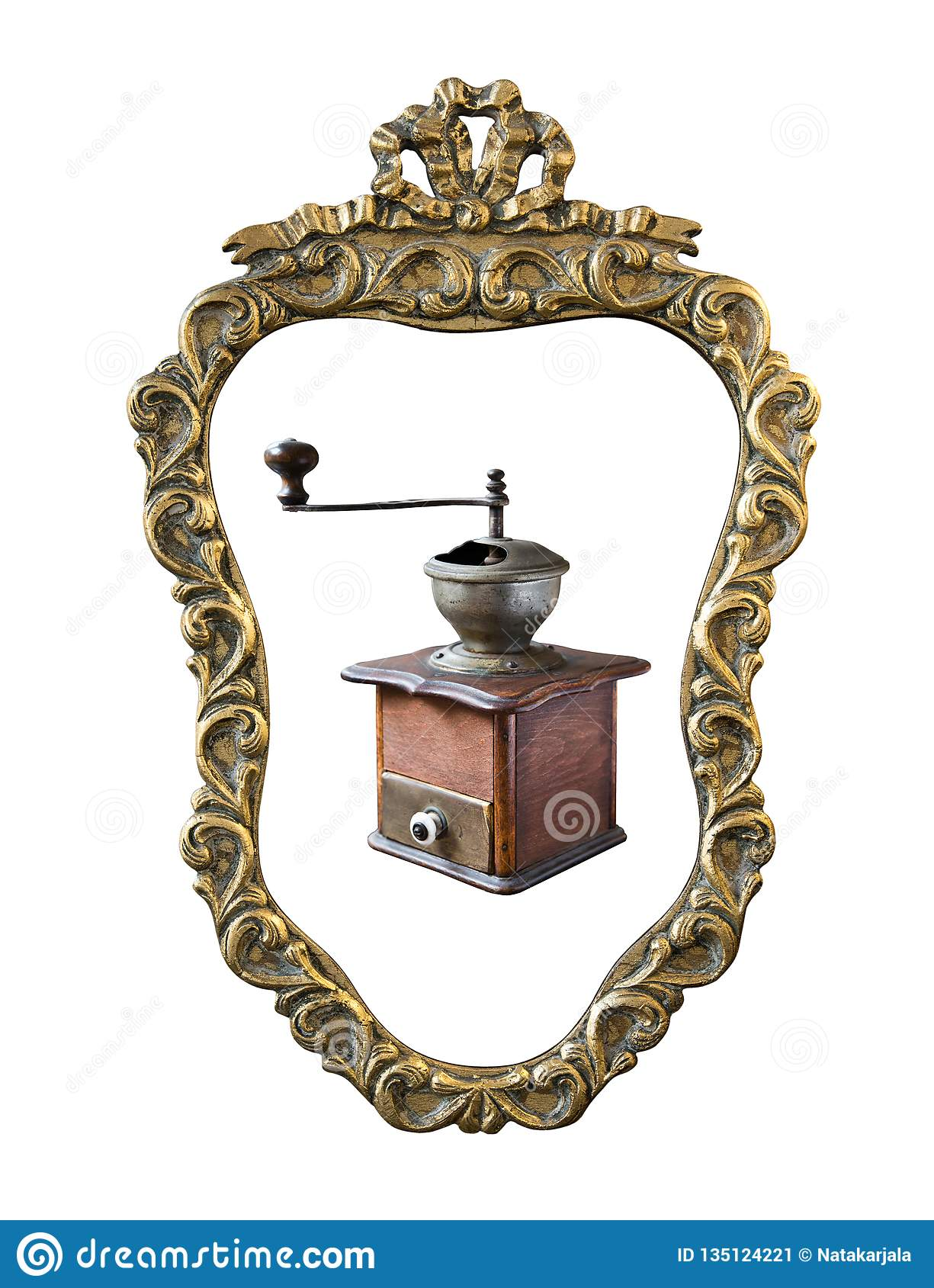 Vintage gilded frame with an ornament coffee grinder isolated on white. Retro style
