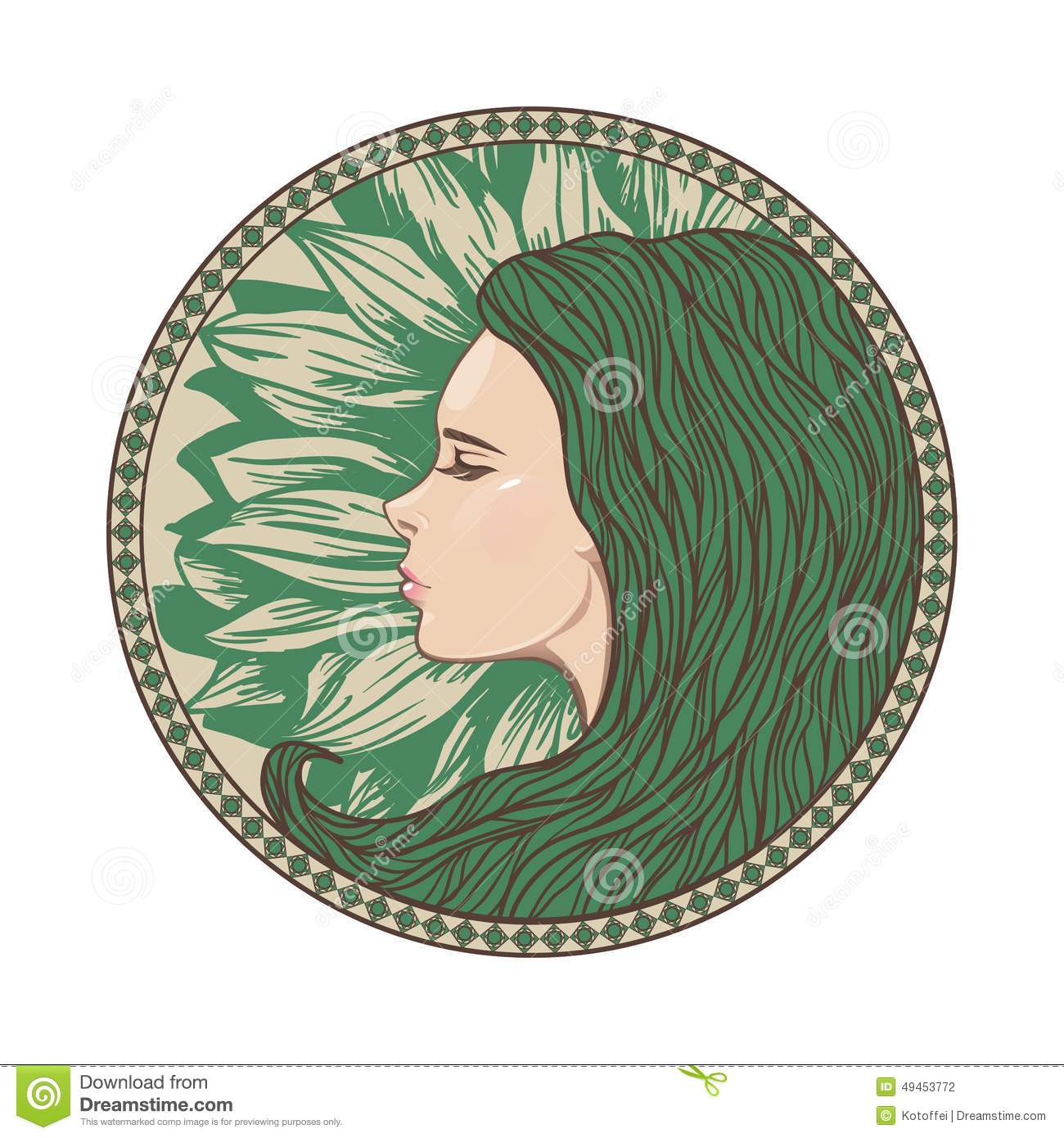 Vintage Girl Portrait In Ornate Circle Frame Stock Vector