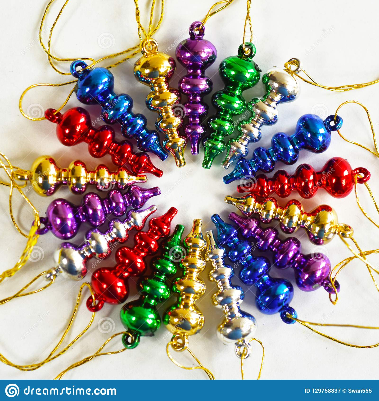 Vintage Glass Ornaments Stock Image Image Of Xmas Ornament 129758837