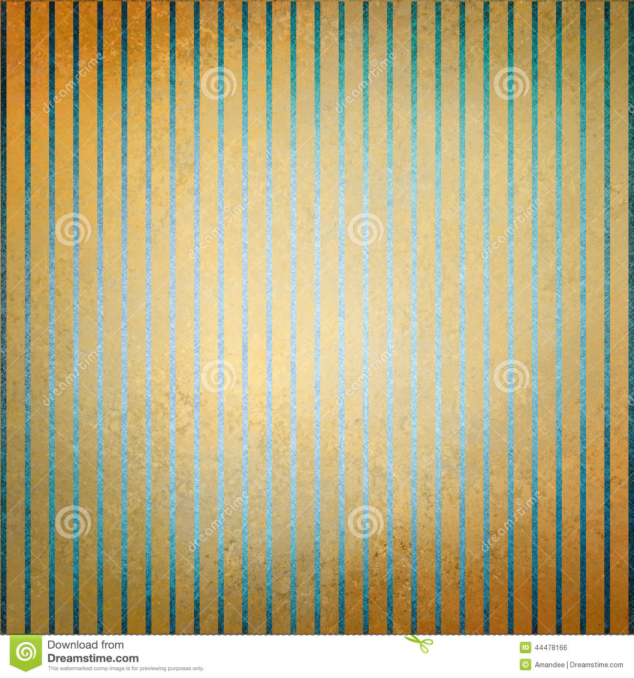 Vintage Gold Background Blue Stripes And Faded Center Old Distressed Texture