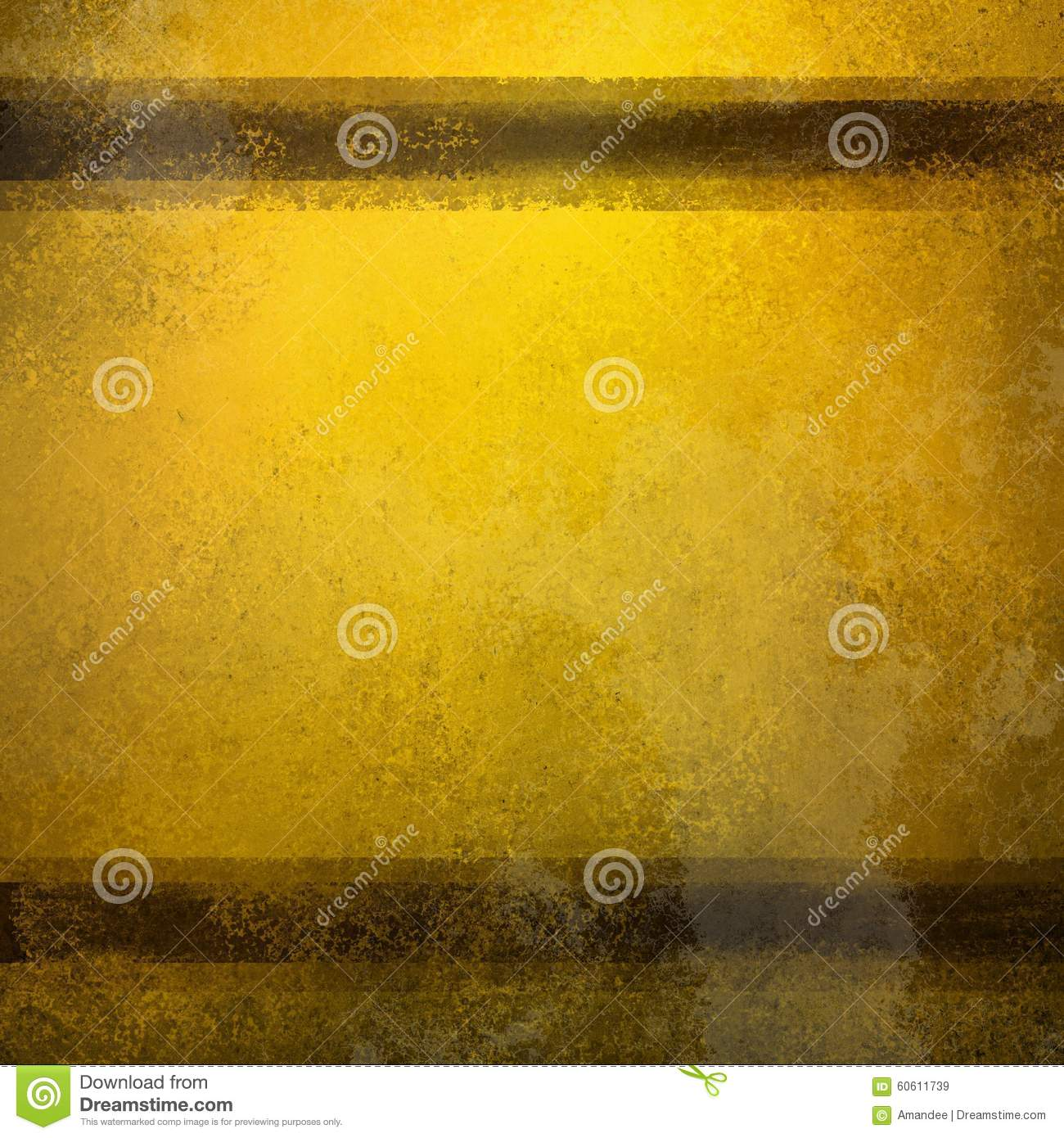 Vintage gold background with brown stripes and distressed old faded texture and stains