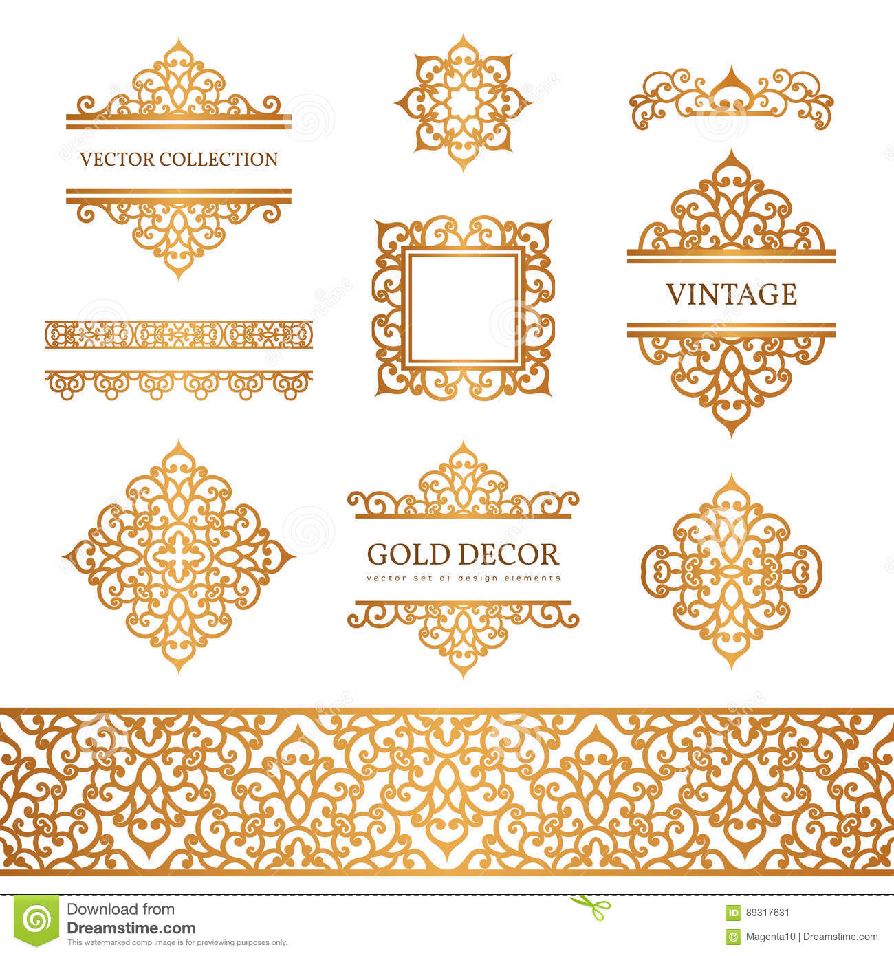 Vintage gold borders and frames on white stock vector illustration download comp stopboris Images