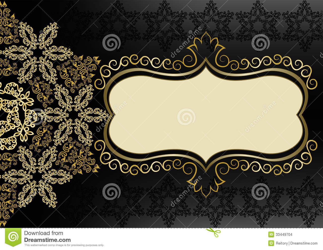Vintage Gold Frame On A Black Background Stock Photo - Image of decorative, label: 33449704