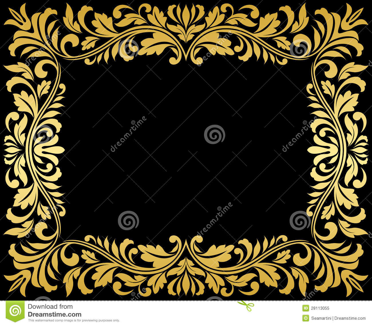 Vintage gold frame with floral
