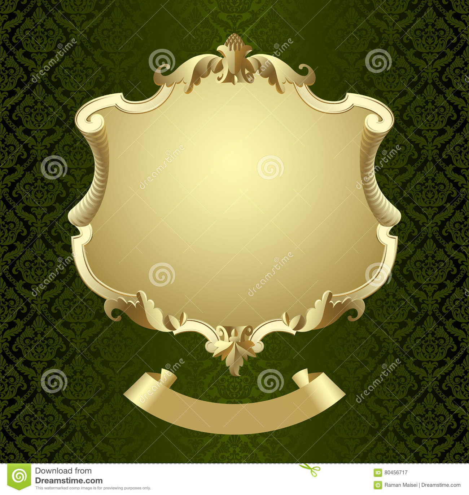 Vintage Gold Framed Shield With Banner On Dark Green Baroque Orn ...