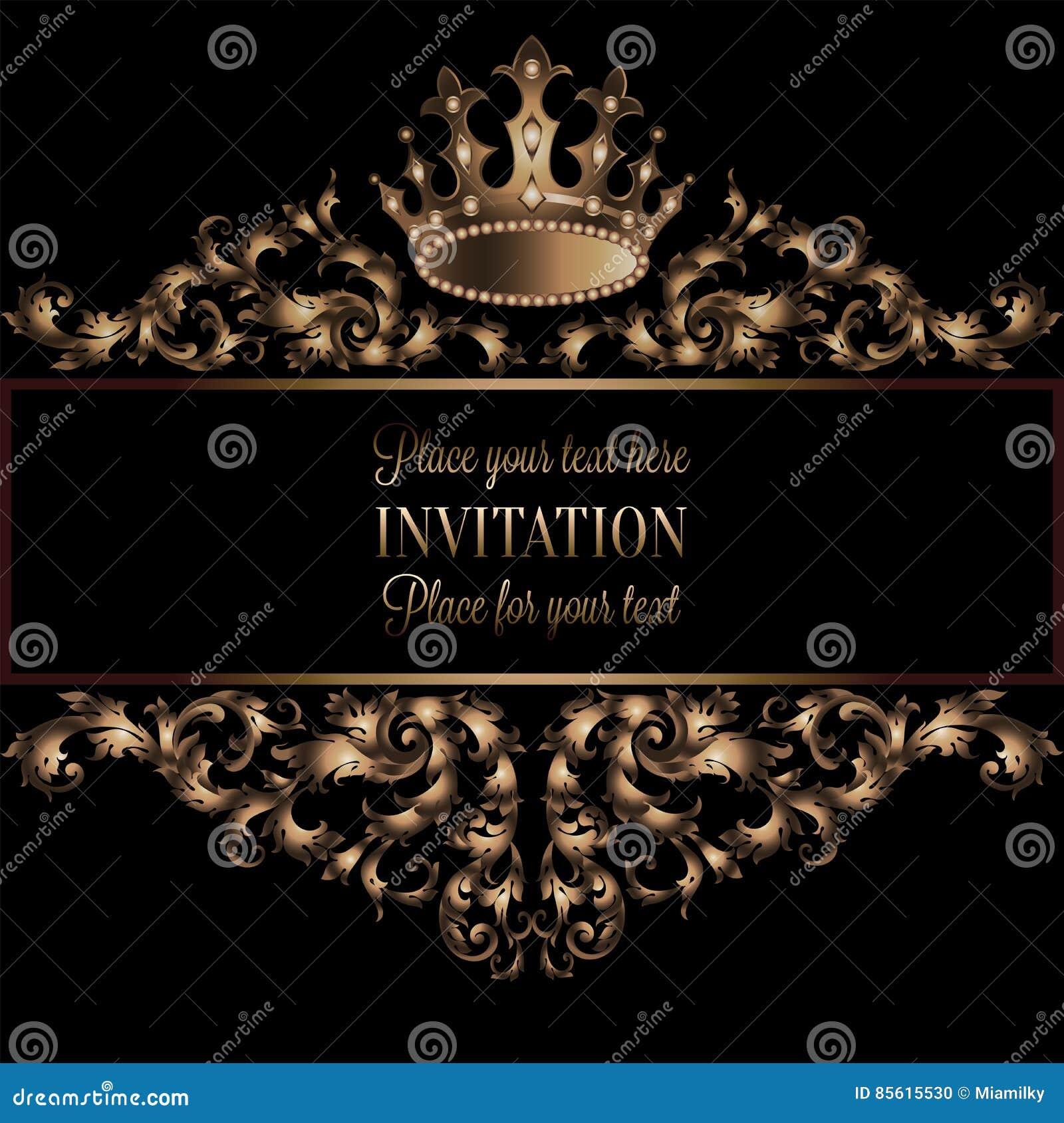 Vintage gold invitation card with black background divider header vintage gold invitation card with black background divider header ornamental lacy vector frame stopboris Choice Image
