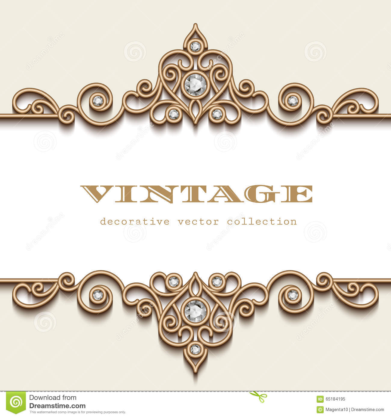 Vintage Gold Jewelry Frame On White Stock Vector Illustration of
