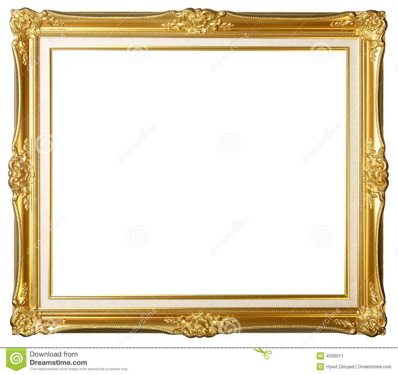 Vintage gold picture frame stock image. Image of background - 4590011