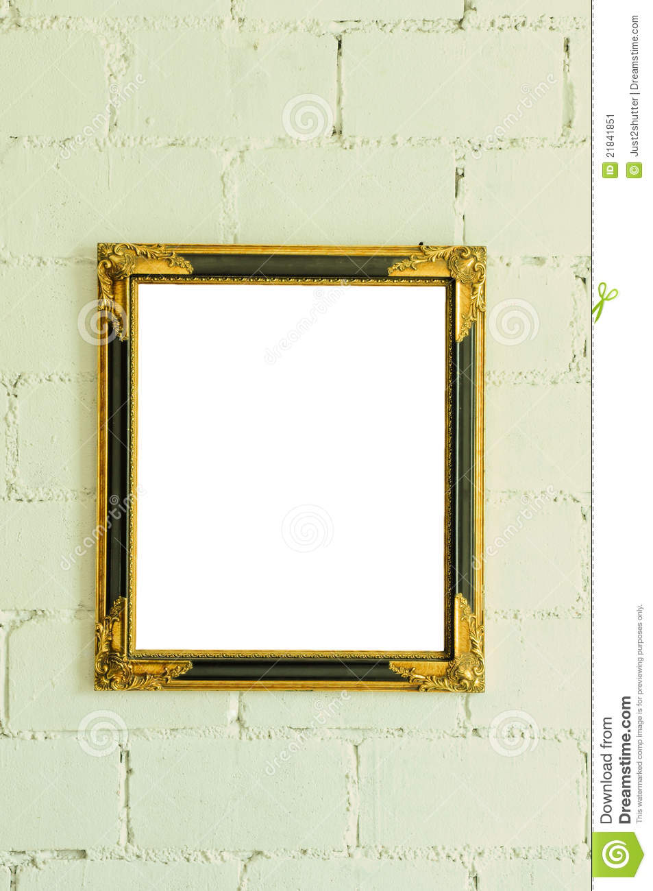 Vintage gold picture frame on white wall stock image - White wall picture frames ...