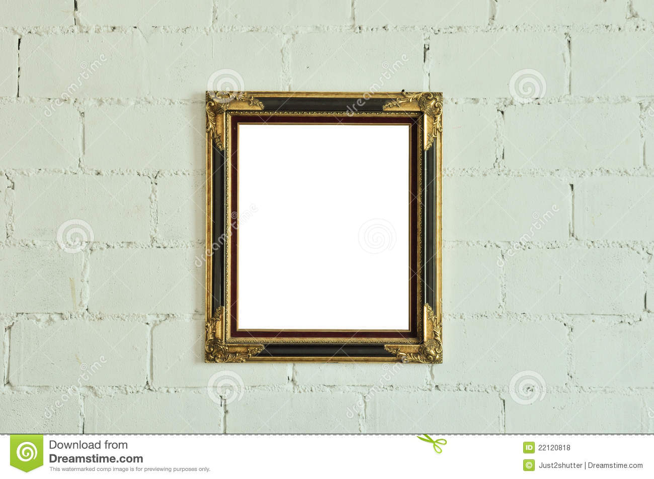 Vintage gold picture frame on white wall royalty free - White wall picture frames ...