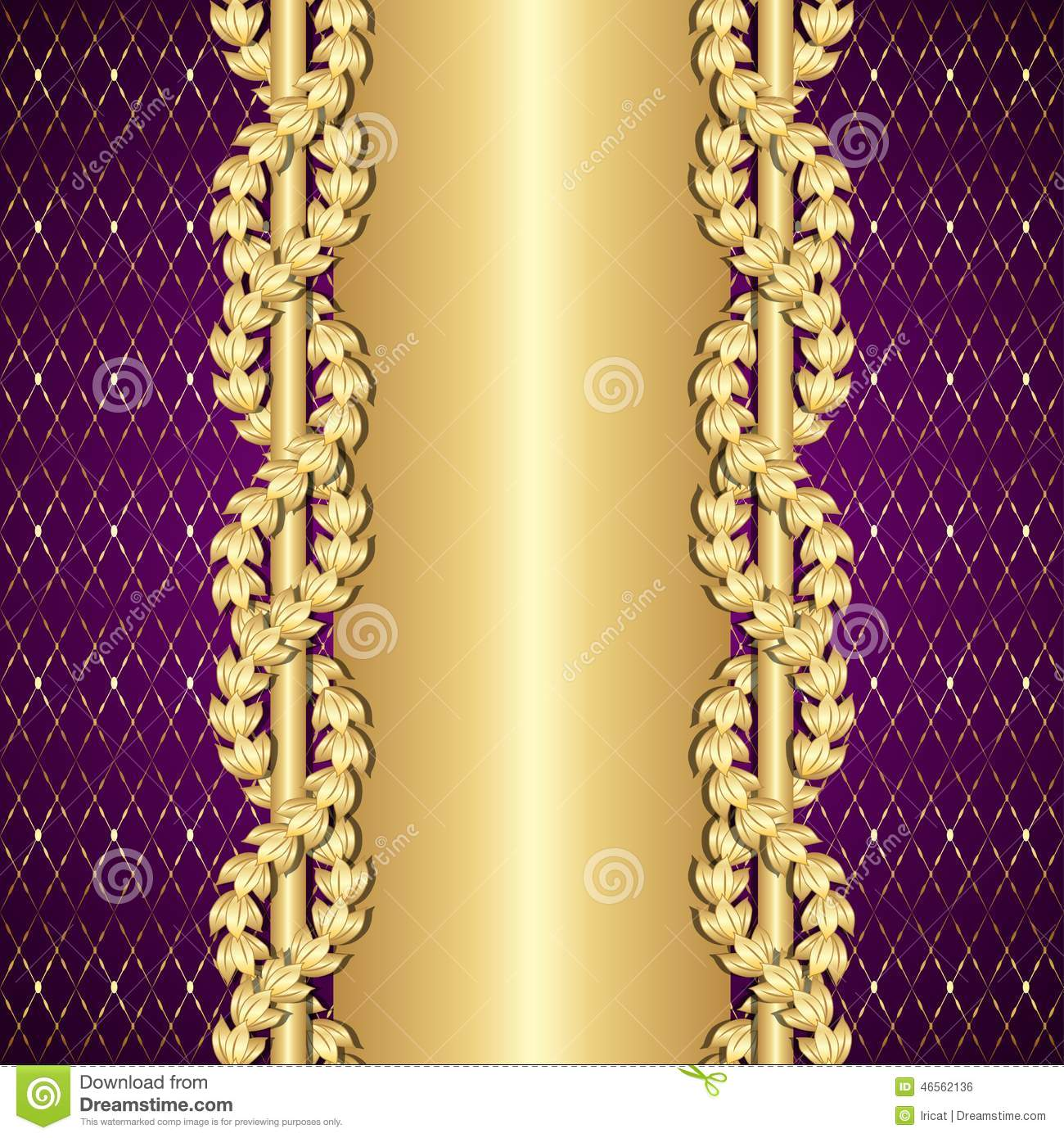 Vintage Gold And Purple Background With Laurel Leaves ...