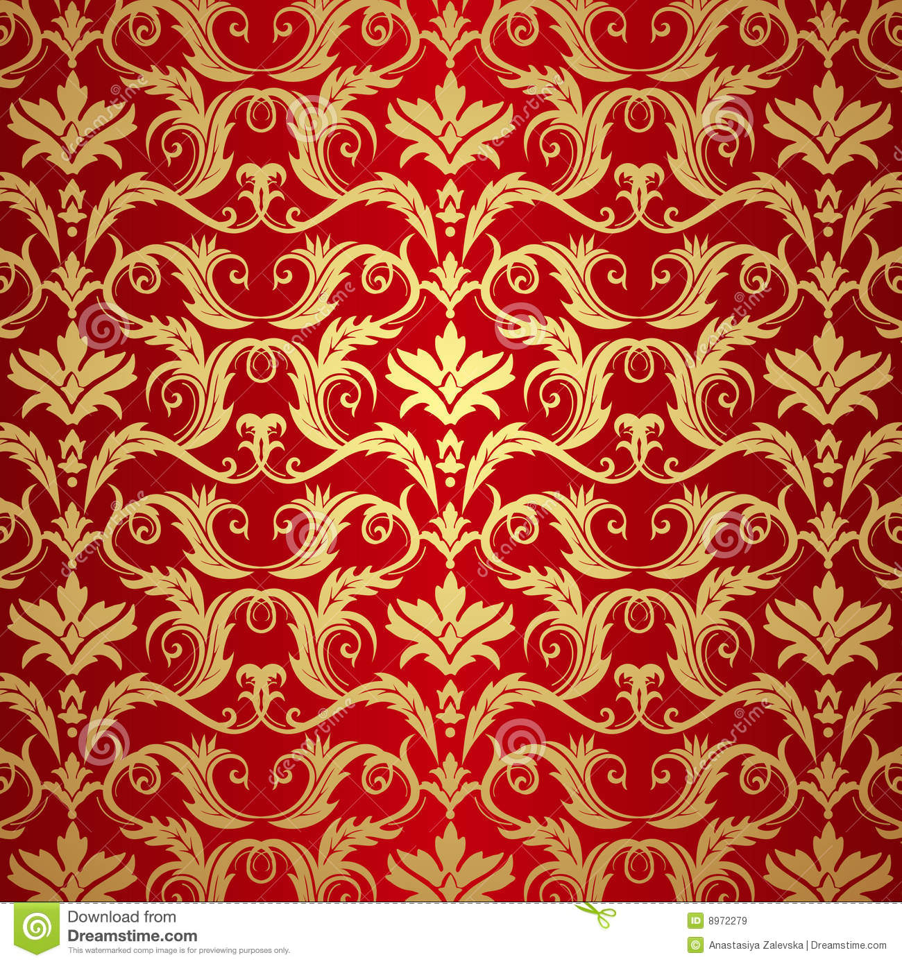 Gothic Victorian House Vintage Gold And Red Background Stock Vector